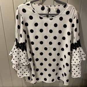 EST 1946 Cato Black and White Polka Dot Ruffle
